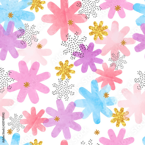 Seamless colorful pattern with abstract flowers. Vector floral watercolor background. - 207409142