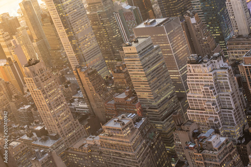 Aluminium New York Aerial view of New York City skyline with Manhattan midtown urban skyscrapers at dramatic after the storm sunset, USA.