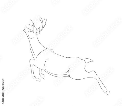 Canvas Hipster Hert deer running, vector lines