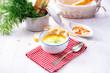 rustic asparagus soup with shrimp skew and diel