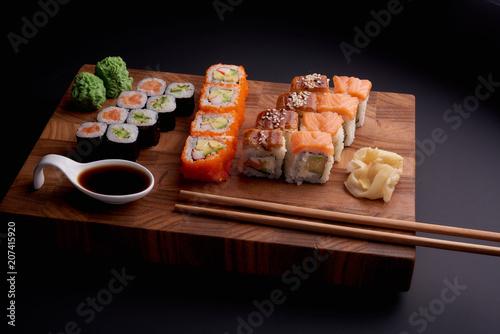 Aluminium Sushi bar Sushi set on a wooden background for japanese restaurant