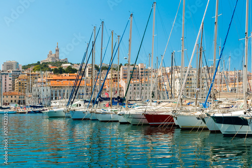 Fotobehang Schip The Old Port with yachts, Marseille, Provence, France