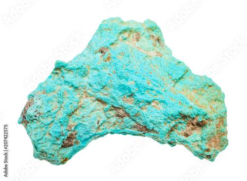 rough Turquoise gemstone isolated on white