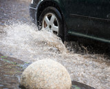 Strong rain in the city - 207425588
