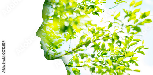 canvas print picture beauty, nature and ecology concept - portrait of woman profile with green tree foliage with double exposure effect