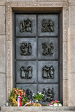 Bratislava, Slovakia - May 24, 2018: Monument at the Slavin Military Cemetery in Bratislava. Slavin War Memorial is the burial ground of Soviet Army soldiers in World War II.