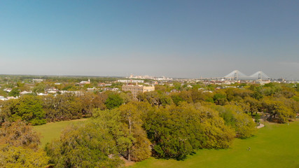 Aerial view of Forsyth Park in Savannah, Georgia