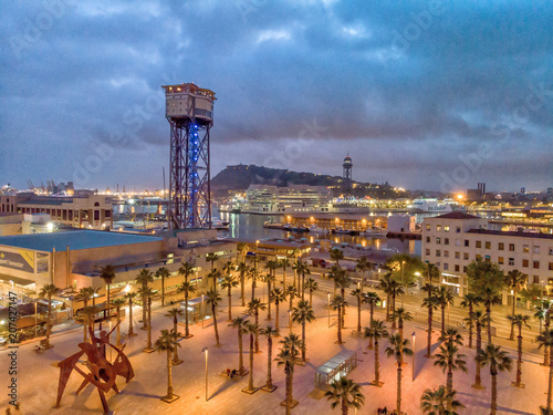 Aluminium Barcelona Barcelona port in Barceloneta. Aerial view of oceanfront at night