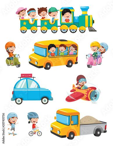 Fototapeta Vector Illustration Of Kids Transportation