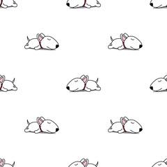 Cute bull terrier puppy sleeping seamless pattern, vector illustration © Totostarkk9456