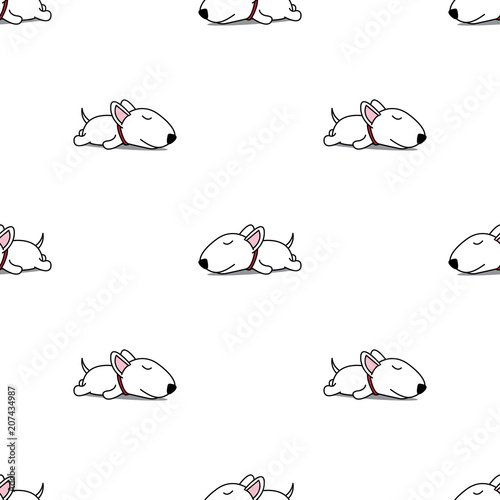 mata magnetyczna Cute bull terrier puppy sleeping seamless pattern, vector illustration