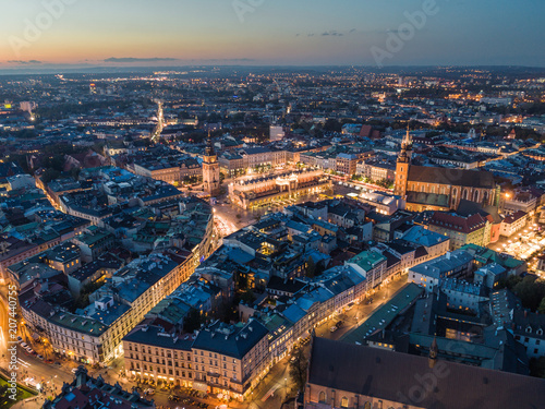 fototapeta na ścianę Cracow at night / aerial view