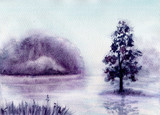 Watercolor Landscape with Misty Lake - 207445912
