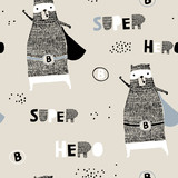 Seamless pattern with hand drawn bear hero. Creative childish texture in scandinavian style. Great for fabric, textile Vector Illustration - 207446923
