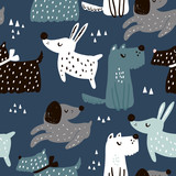 Childish seamless pattern with hand drawn dogs. Trendy scandinavian vector background. Perfect for kids apparel,fabric, textile, nursery decoration,wrapping paper - 207446931