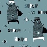 Seamless pattern with hand drawn bear hero. Creative childish texture in scandinavian style. Great for fabric, textile Vector Illustration - 207446938