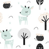 Seamless childish pattern with cute deer, hedgehog in the wood. Creative kids city texture for fabric, wrapping, textile, wallpaper, apparel. Vector illustration - 207446947