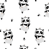 Seamless childish pattern with cute panda boy in black and white style. Creative scandinavian kids texture for fabric, wrapping, textile, wallpaper, apparel. Vector illustration - 207446957