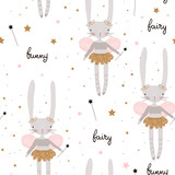 Seamless pattern with cute bunny ballerina with wings, stars, magic wand . Creative childish background. Perfect for kids apparel,fabric, textile, nursery decoration,wrapping paper.Vector Illustration - 207446966