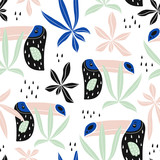 Seamless pattern with tropical birds,tucans, palm leaves. Creative kids texture for fabric, wrapping, textile, wallpaper, apparel. Vector illustration - 207446973