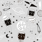 Seamless childish pattern with cat astonauts in the spase. Trendy black and white style. Creative scandinavian kids texture for fabric, wrapping, textile, wallpaper, apparel. Vector illustration - 207446981