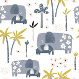 Seamless pattern with cute mom and baby elephant, palm trees and flowers. Creative childish texture. Great for fabric, textile Vector Illustration - 207446996