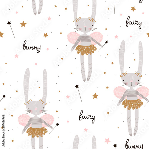 Tapeta Seamless pattern with cute bunny ballerina with wings, stars, magic wand . Creative childish background. Perfect for kids apparel,fabric, textile, nursery decoration,wrapping paper.Vector Illustration
