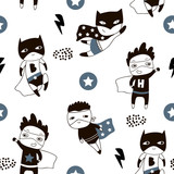 Seamless pattern with cute boy hero. Creative childish texture in scandinavian style. Great for fabric, textile Vector Illustration - 207447100