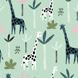 Seamless pattern with giraffe, palm tree and tropical background. Creative jungle childish texture. Great for fabric, textile Vector Illustration - 207447110