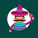 mexican man mustache with hat poncho holding maracas vector illustration - 207447111
