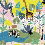 Seamless pattern with giraffe, zebra,tucan, and tropical landscape. Creative jungle childish texture. Great for fabric, textile Vector Illustration - 207447112
