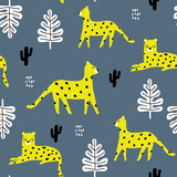 Seamless pattern with leopards, palm branch and tropical background. Creative jungle childish texture. Great for fabric, textile Vector Illustration - 207447118