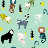 Seamless pattern with giraffe, leopard,tucan, monkey and tropical elemnts. Creative jungle childish texture. Great for fabric, textile Vector Illustration - 207447127