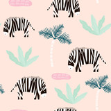 Seamless pattern with zebra and palm tree. Creative jungle childish texture. Great for fabric, textile Vector Illustration - 207447132