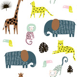 Seamless pattern with giraffe, leopard,tucan, elepahant, monkey and tropical elements. Creative jungle childish texture. Great for fabric, textile Vector Illustration - 207447139