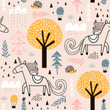 Seamless childish pattern with fairy unicorn, hedgehog in the wood. Creative kids city texture for fabric, wrapping, textile, wallpaper, apparel. Vector illustration - 207447171