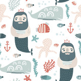 Seamless childish pattern ocean king and undersee elements . Creative scandinavian kids texture for fabric, wrapping, textile, wallpaper, apparel. Vector illustration - 207447183