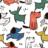 Childish seamless pattern with hand drawn dogs. Trendy scandinavian vector background. Perfect for kids apparel,fabric, textile, nursery decoration,wrapping paper - 207447187