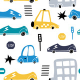 Seamless pattern with hand drawn cute car. Cartoon cars, road sign,zebra crossing vector illustration.Perfect for kids fabric,textile,nursery wallpaper - 207447196