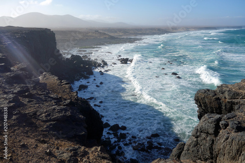 Fotobehang Canarische Eilanden Atlantic Ocean Fuerteventura Water Beach Waves Cliffs