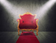 Red and gold luxury armchair. concept of success and glory