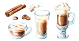 Fototapety Coffee with milk set. Cinnamon and coffee beans. Watercolor hand drawn illustration, isolated on white background