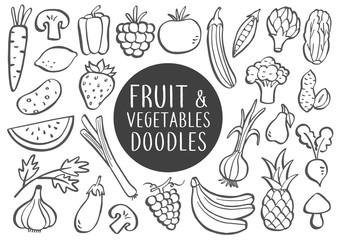 Fruit And Vegetables Doodles © Anna Frajtova