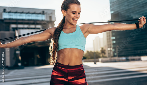 Sticker Fitness woman doing stretching workout