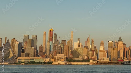 New York City and Hudson River Day to Night Panning Timelapse Video