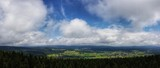 scenic panorama view of natural landscape under a cloudy sky