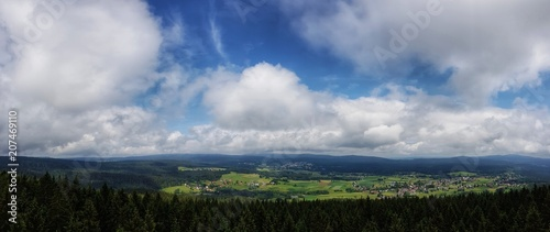 Fotobehang Lente scenic panorama view of natural landscape under a cloudy sky