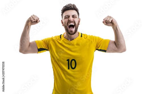 Aluminium Voetbal Brazilian male athlete / fan celebrating on white background