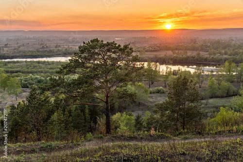 Fotobehang Lente Sunset over the river