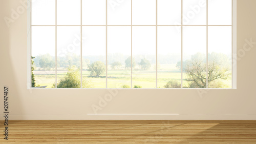 Empty simple space in hotel - 3d rendering  and nature view background - 207474187
